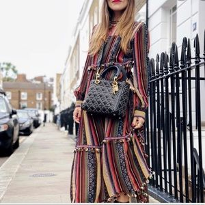Zara blogger fav long stripe pompom bohemian dress